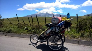 My Thule Stroller in front of Chimborazo
