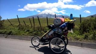 My Thule Stroller in front of Chimborazo